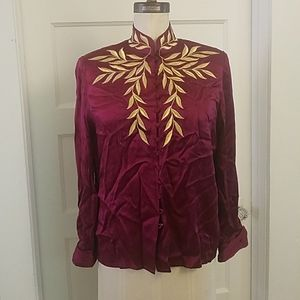 VINTAGE Bob Mackie Embroidered Silk Blouse